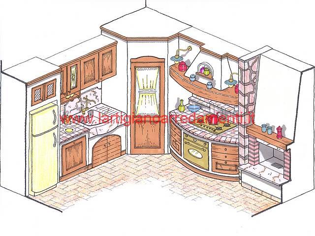 Progetti cucine in muratura for Disegni di grandi cucine