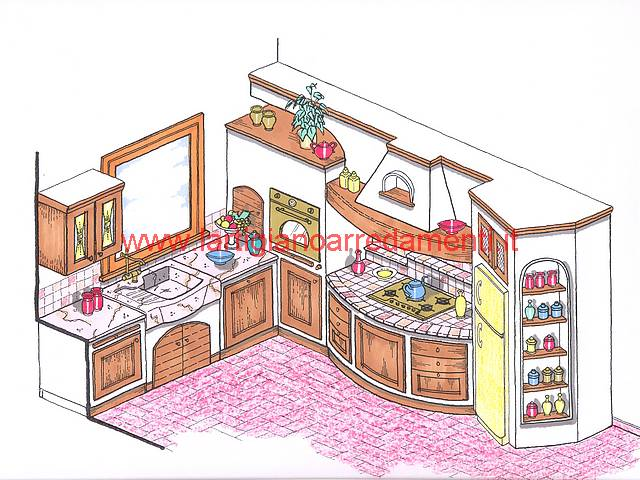 Progetti cucine in muratura for Progetta mobili